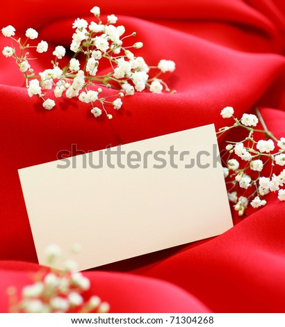 Greeting card with  flowers on red background