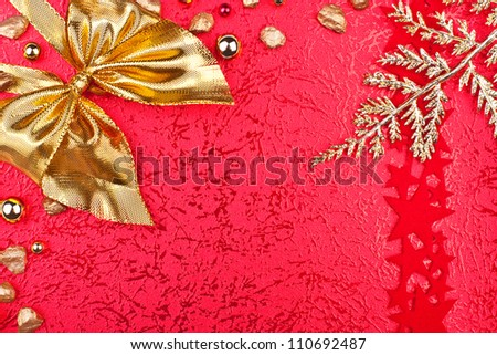 greeting card with golden ribbon and frond
