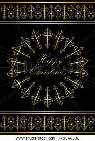 Greeting card with greetings Happy Christmas in gold snowflake
