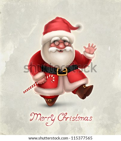 Greeting card with illustration of Santa Claus