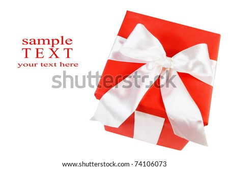 Greeting Card with Red Gift Box Isolated on White