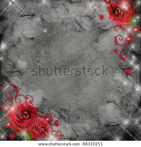 greeting card with red roses and hearts on the grey background