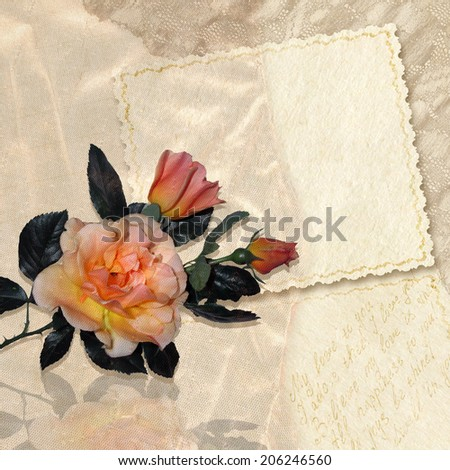 Greeting card with roses. Beautiful background with bouquet of flowers and romantic letters. Retro style. Raster image.