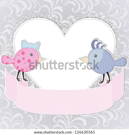 Greeting card with two stylized birds and heart