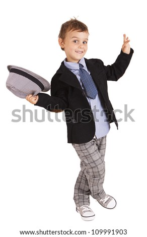 Greeting cool pretty stylish little boy isolated on white background