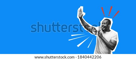 Greeting emotional african-american man. Collage in magazine style with bright blue background. Flyer with trendy colors, copyspace for ad. Discount, sales season, fashion and style concept.
