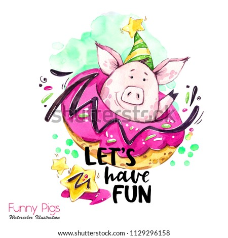 Greeting holidays illustration. Watercolor cartoon pig with weekend lettering and donut. Funny quote. Party symbol. Gift. Perfect for T-shirts, posters, invitations, cards, phone cases. #1129296158