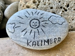 Greeting Pebble with inscription Good Morning - Greek Kalimera