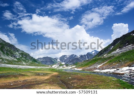 Greina mountain valley, with small river. Tessin, Switzerland