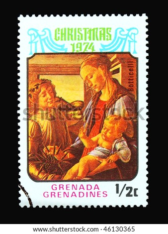 GRENADA - CIRCA 1974: A stamp printed in Grenada showing Christmas circa 1974