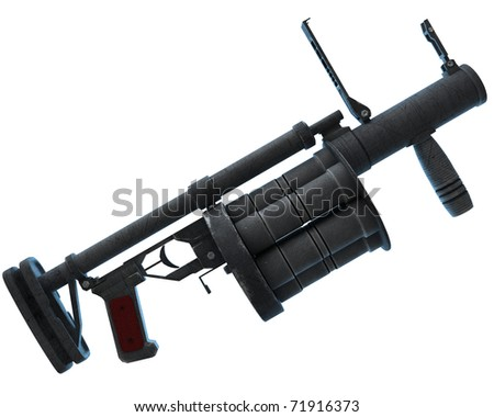grenade launcher RG6, modern Russian weaponry. isolated over white background