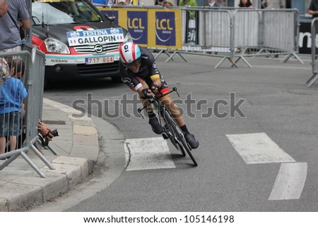 "GRENOBLE, FRANCE - JUN 3: Professional racing cyclist Tony Gallopin rides UCI WORLD TOUR ""CRITERIUM DU DAUPHINE LIBERE"" time trial on June 3, 2012 in Grenoble, France. Luke Durbridge wins the stage"