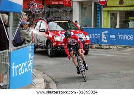 "GRENOBLE, FRANCE - JUNE 8: Professional racing cyclist Ben Hermans rides UCI WORLD TOUR "" CRITERIUM DU DAUPHINE LIBERE"" third stage time trial on June 8, 2011 in Grenoble city, Isere, France."