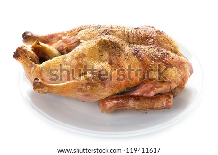 gressingham duck cooked isolated on a white background