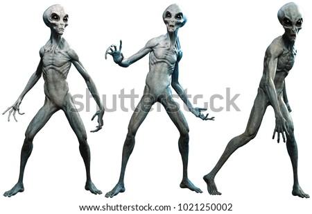 Grey aliens 3D illustration