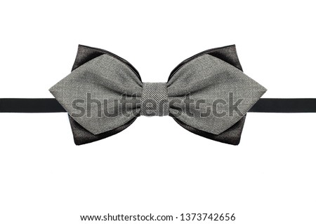 Grey and black bow tie close up isolated on white background #1373742656
