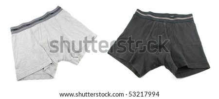 grey and black male underwear isolated on the white background