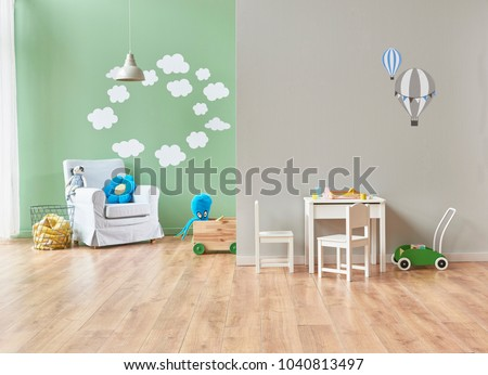 grey and green wall decoration modern baby room and all kind of baby object in the room. bed cabinet and toys style #1040813497
