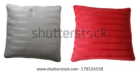 Grey and red cushions isolated on plain background #178526558