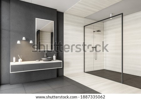 Grey and white bathroom with sink, mirror and drawers, shower with glass doors, side view. Minimalist design of modern bathroom with tiled floor 3D rendering, no people