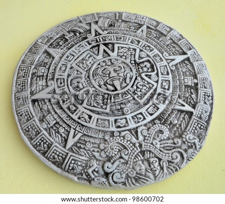 Grey and white traditional Maya calendar