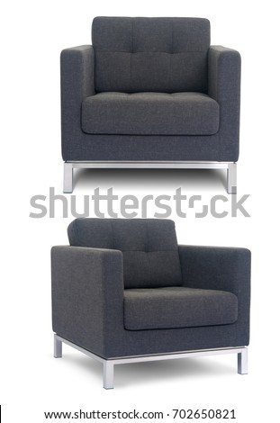 Grey Armchair in two angles on white background #702650821
