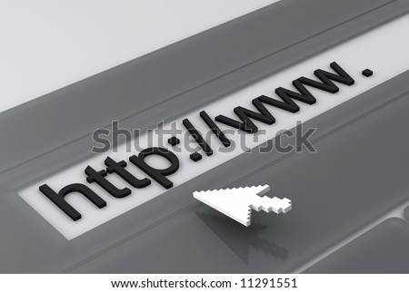 grey arrow and address www close up 3d render