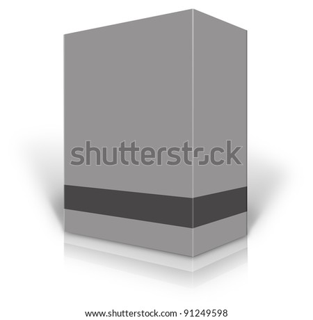 Grey blank box isolated on white background ready to be personalized by you. - stock photo