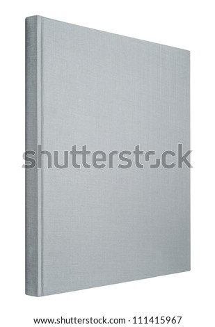 Grey book isolated on white, spine of book
