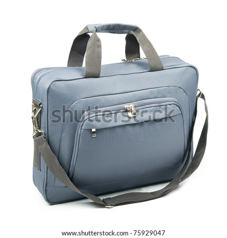 Grey briefcase on a white background.