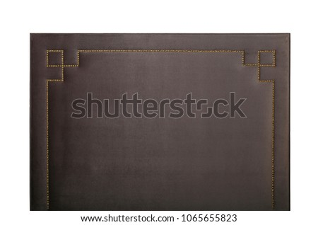 Grey brown soft velvet bed headboard isolated on white background, front view #1065655823