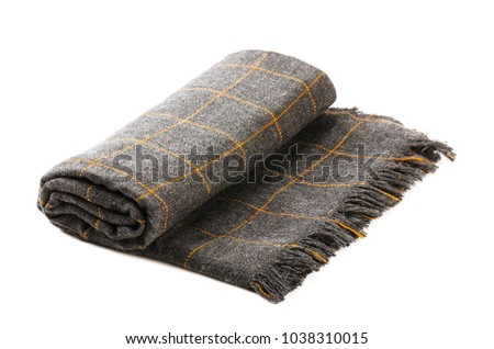 Grey checkered blanket isolated on a white background - Shutterstock ID 1038310015