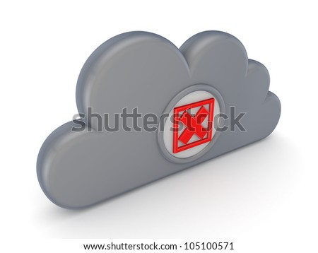 Grey cloud and red cross mark.Isolated on white background.3d rendered.