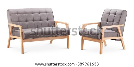 Grey color sofa and grey color armchair. Modern designer sofa and armchair on white background. Textile sofa, textile armchair. Series of furniture. #589961633