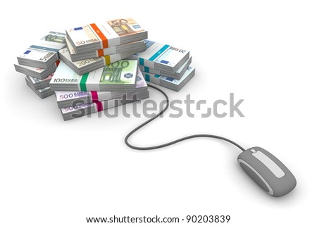 grey computer mouse is connected to a big pile of euro banknotes