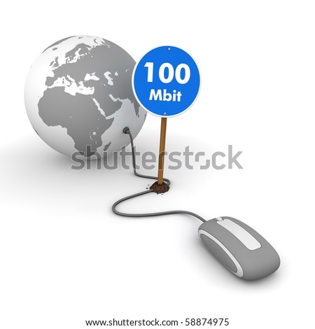 """grey computer mouse is connected to a grey globe - surfing and browsing is accompanied by a blue sign with the word """"100 Mbit"""""""