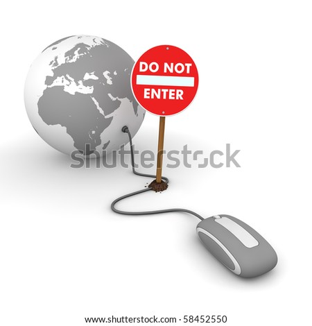 grey computer mouse is connected to a grey globe - surfing and browsing is blocked by a red  do not enter sign that cuts the cable