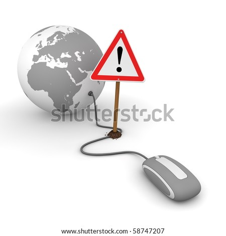 grey computer mouse is connected to a grey globe - surfing and browsing is blocked by a red-white warning sign that cuts the cable