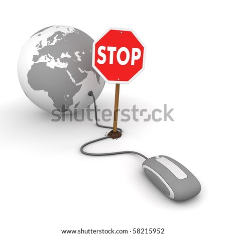 grey computer mouse is connected to a grey globe - surfing and browsing is blocked by a stop sign that cuts the cable