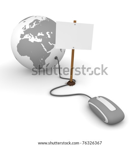 grey computer mouse is connected to a grey globe - surfing and browsing is blocked by a white rectangular sign that cuts the cable - empty template
