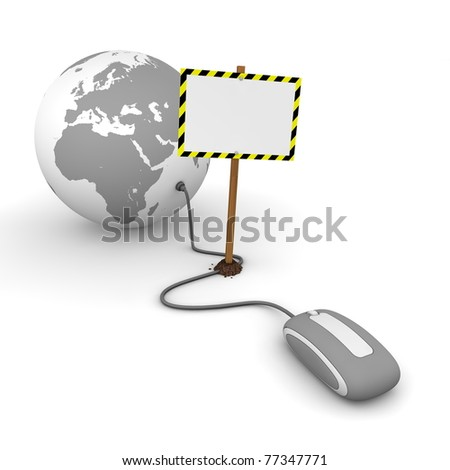 grey computer mouse is connected to a grey globe - surfing and browsing is blocked by a white rectangular sign that cuts the cable - empty template with yellow and black warning stripes