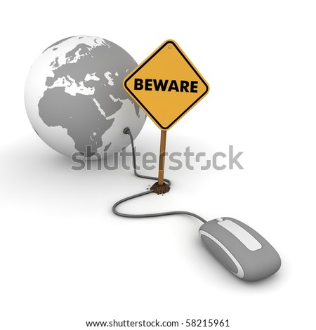 "grey computer mouse is connected to a grey globe - surfing and browsing is blocked by a yellow ""Beware""-warning sign that cuts the cable"