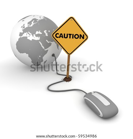 "grey computer mouse is connected to a grey globe - surfing and browsing is blocked by a yellow ""Caution""-warning sign that cuts the cable - stock photo"