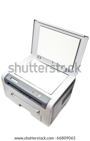 Grey computer printer isolated on white background