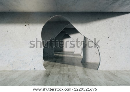 Foto mural Grey concrete interior with tunnel. 3D Rendering