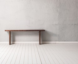 grey concrete wall wooden modern desk with wooden floor