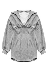 Grey cotton hoody tunic dress isolated over white