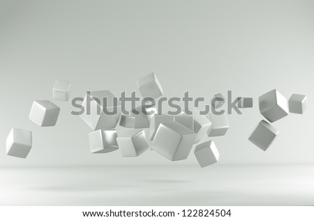 grey cube and grey background
