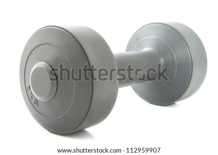 Grey dumbbell isolated on a white background
