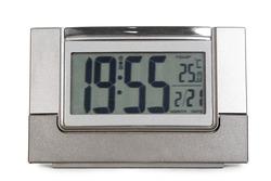 grey electronic alarm clock isolated